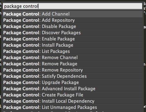 List of package controll options